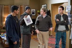 Michael Pena, Eddie Murphy, Matthew Broderick, and Casey Affleck in Tower Heist