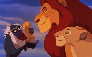 Rafiki, Simba, Mufasa, and Sarabi